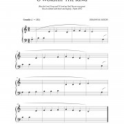 """O Worship the King"" beginner piano hymn sheet music // from The Beginning Pianist's Hymnal, available at www.LacieBowmanMusic.com"